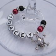Skull & Bones Personalised Wine Glass Charm - Elegance Style